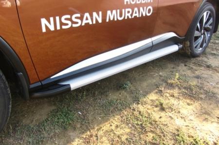 "Nissan MURANO 2016- Пороги алюминиевые ""Optima Silver"" 1800 серебристые"